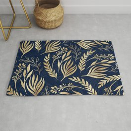 Classy Gold Foliage Botanical Blue Design Rug