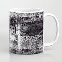 Two Cheetahs Lounging, Black and White, Grunge Coffee Mug