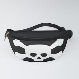Simple White Crossbones Skull Fanny Pack