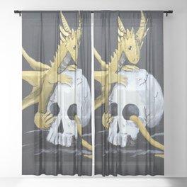 Gold Dragon & Skull Sheer Curtain