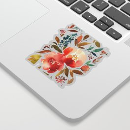 Red Turquoise Teal Floral Watercolor Sticker