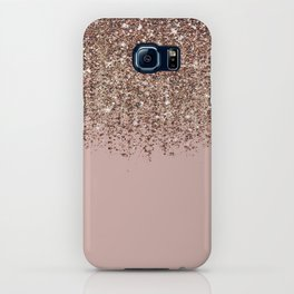 Blush Pink Rose Gold Bronze Cascading Glitter iPhone Case
