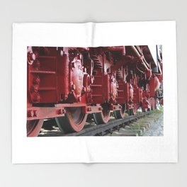 Old Steam Locomotive Train Railway Throw Blanket