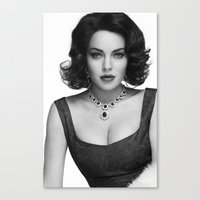 lindsay lohan Canvas Prints featuring Lindsay Lohan as Elizabeth Taylor by OUR PRINCE OF PEACE