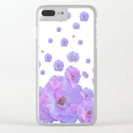 PALE BLUISH-PINK ROSE GARDEN ABSTRACT FLORAL Clear iPhone Case
