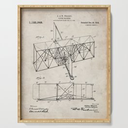 Wright Brother's Machine Patent - Airplane Art - Antique Serving Tray