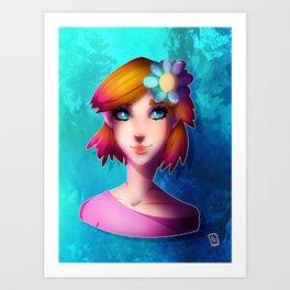 Girl with Flower Art Print
