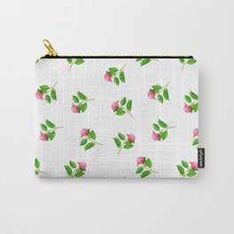 Hand painted pink green watercolor hand painted floral Carry-All Pouch