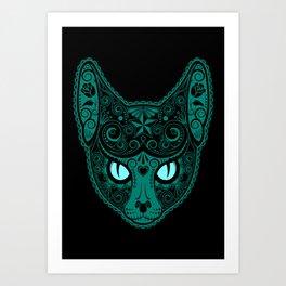 Blue Day of the Dead Sugar Skull Cat Art Print