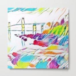 Newport Bridge watercolor landscape painting  Metal Print