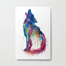 Howling Wolf Watercolor Silhouette Metal Print