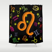 leo Shower Curtains featuring Leo by Thisisnotme