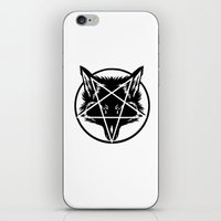 pentagram iPhone & iPod Skins featuring Pentagram Wolf Inverted by Mohrne