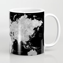 Black and grey watercolor world map with cities Coffee Mug