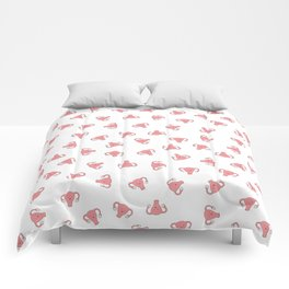 Crazy Happy Uterus in White, small repeat Comforters