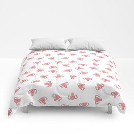 Crazy Happy Uterus in White, small repeat Comforters