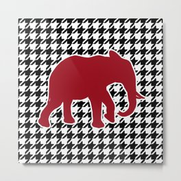 Houndstooth and Elephant Metal Print