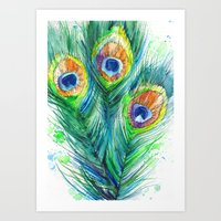 peacock feather Art Prints featuring Peacock feather  by Slaveika Aladjova