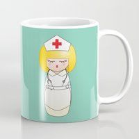 nurse Mugs featuring Kokeshi Nurse by Pendientera