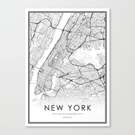 New York City Map United States White and Black Canvas Print
