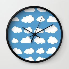 White clouds on a blue skies Wall Clock