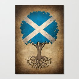 Vintage Tree of Life with Flag of Scotland Canvas Print