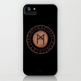 Mannaz - Wooden Celtic Rune of self, individuals, universe, family, loved ones, friends, devoted iPhone Case