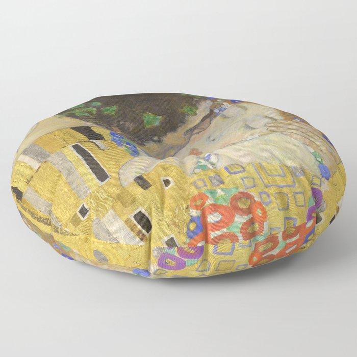The Kiss - Closeup - Gustav Klimt Floor Pillow