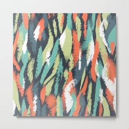 Ethnic Abstract Brushstrokes Metal Print