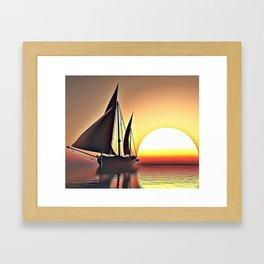 Sunset Sailing Airbrush Artwork Framed Art Print