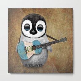 Baby Penguin Playing Guatemalan Flag Acoustic Guitar Metal Print