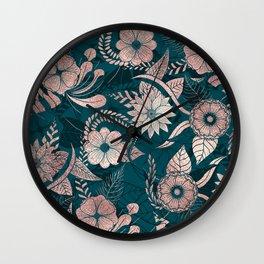 Artsy Modern Rose Gold Emerald Green Flowers Wall Clock