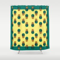 pineapples Shower Curtains featuring PINEAPPLES by Heaven7