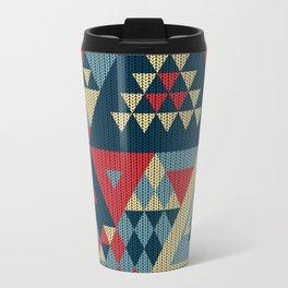 triangles-cream-blue-red-KNIT Travel Mug