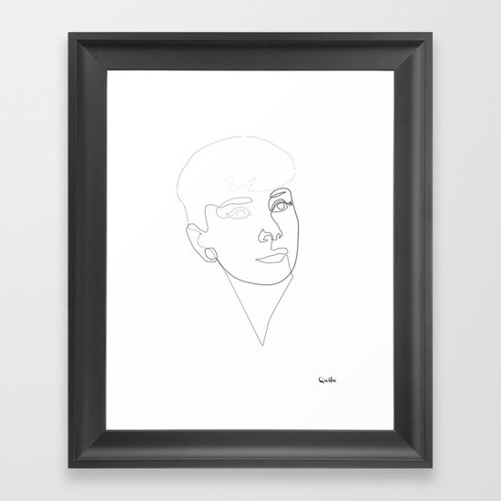 One line Audrey Hepburn Framed Art Print