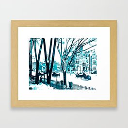 Urban winterscape with sleigh Framed Art Print