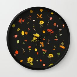signs of fall with black background Wall Clock