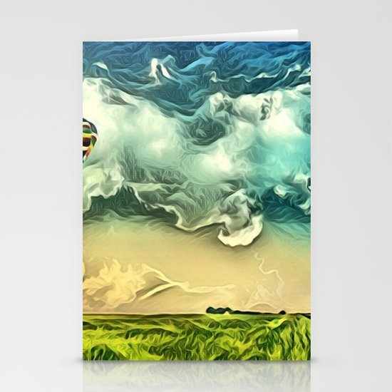 Air Balloon in the Sky with Clouds over the Landscape Stationery Cards