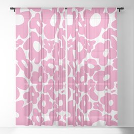 60s 70s Hippy Flowers Pink Sheer Curtain