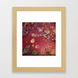 Green Amoeba in a Maroon micro Galaxy Framed Art Print
