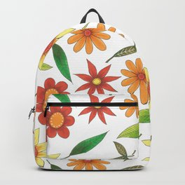bright flowers and green leaves Backpack
