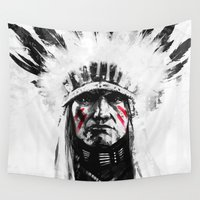 native american Wall Tapestries featuring Native American by Maioriz Home