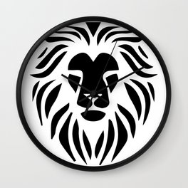 Lion Warrior drawing black T-shirt Wall Clock