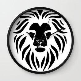 Lion Warrior drawing black T-shirt Wall Clock