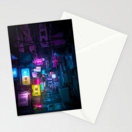 Cyberpunk city underground Stationery Cards