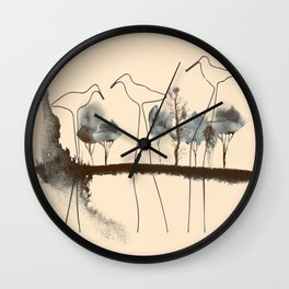 Abstract long-legged birds landscape bird continuous line drawing watercolor lake and trees print Wall Clock