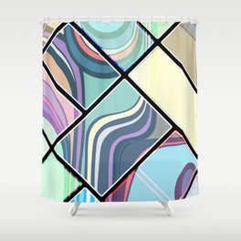 Abstract Cream Geometric Pattern | Pastel | Contemporary Design | NEW Shower Curtain