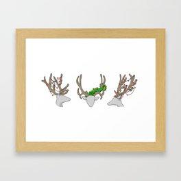 Christmas Reindeer Wreath Framed Art Print