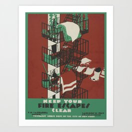 Vintage poster - Keep Your Fire Escapes Clear Art Print