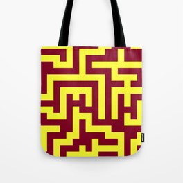 Electric Yellow and Burgundy Red Labyrinth Tote Bag